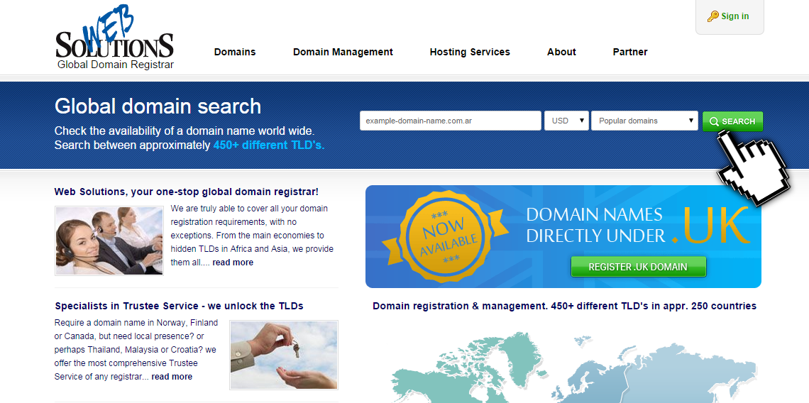 Choose desired domain name
