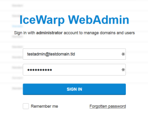 login into administration panel