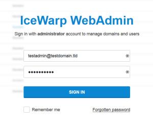 login into administration panel