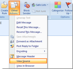 Message source in Outlook 2007